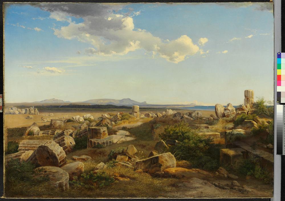 Auch das Gemälde »Die Tempelruinen von Selinunt« von August Bromeis wird auf seine Profenienz untersucht. Quelle: Museumslandschaft Hessen Kassel